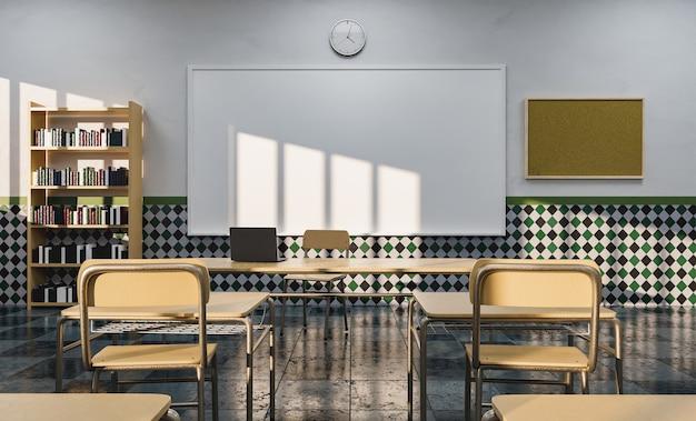 Whiteboard in een onderwijslokaal gezien vanaf de bureaus met licht vanuit het raam verlichtend