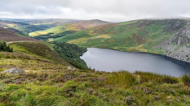 Wicklow-manierlandschap lough tay lake in een bewolkte dag.