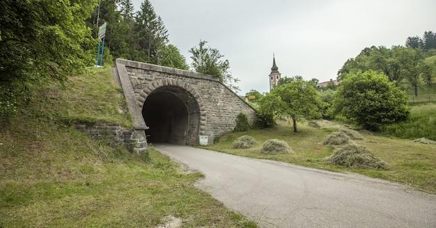 Wide shot van een tunnel van een oude spoorweg in slovenië op een bewolkte dag