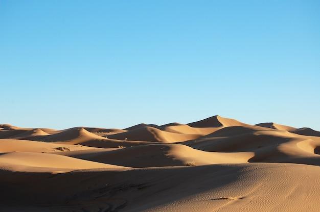 Wide shot van zandduinen in een woestijn overdag