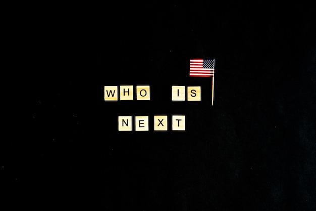 Wie is het volgende president-concept met een amerikaanse vlag