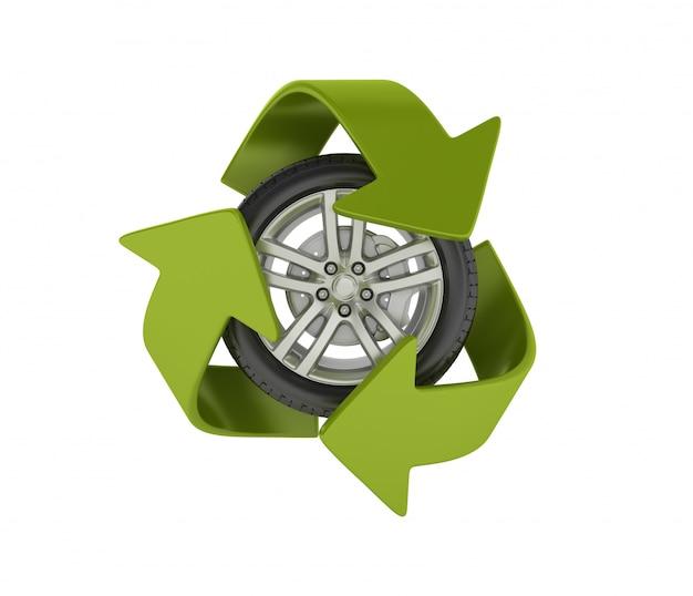 Wiel met recycling symbool