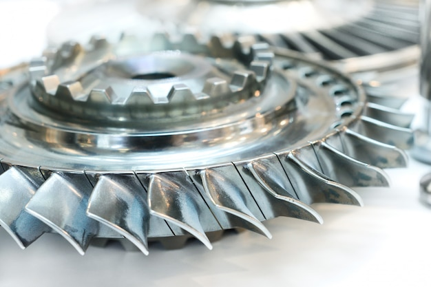 Wiel van de luchtcompressor een vliegtuigmotor