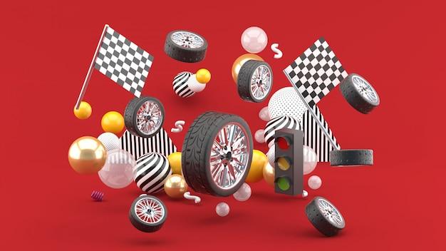 Wiel zweeft tussen vlaggen en verkeerslichten en kleurrijke ballen op rood. 3d render