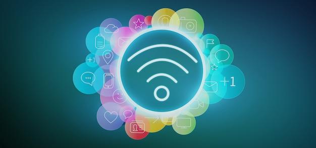 Wifipictogram het omringen door het kleurrijke sociale media pictogram 3d teruggeven