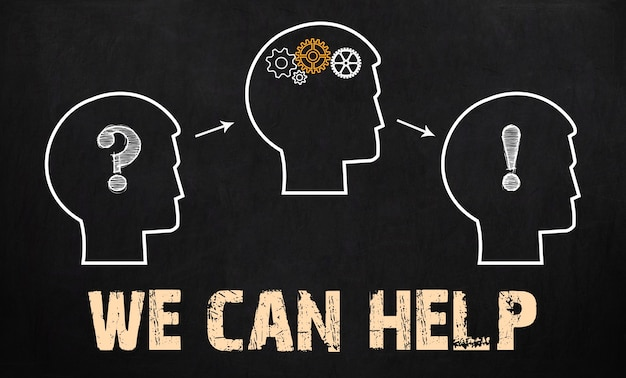 Wij kunnen helpen - business concept op schoolbord.
