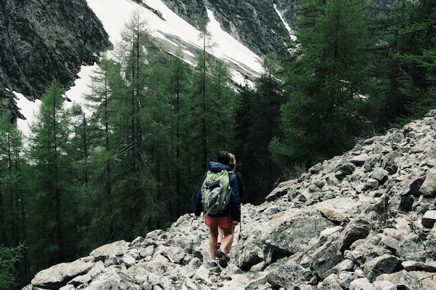 Wijd geschoten van toeristen die een rotsachtige heuvel wandelen die door groene pijnbomen wordt omringd