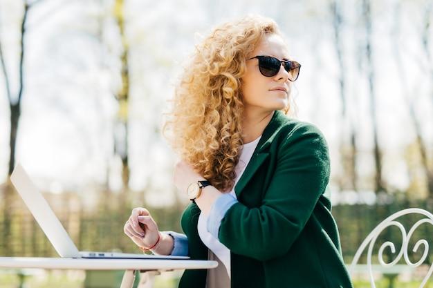 Wijfje die met pluizig blonde haar zonnebril dragen die in de zon voor laptop zitten