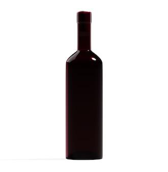 Wijn bordo fles geïsoleerd rood glas leeg ontwerp sjabloon drank bar item mockup foto