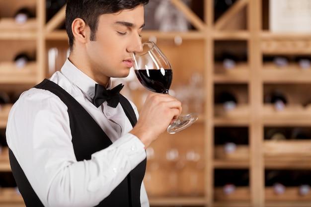 Wijn proeven. bijgesneden afbeelding van zelfverzekerde jonge sommelier die voor een plank met wijnflessen staat en de armen gekruist houdt