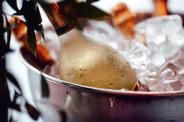 Wijnfles in ijsemmer