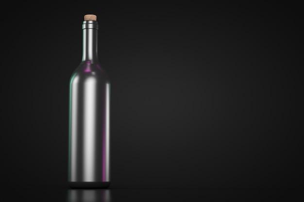Wijnfles met kurk. donker thema. kopieer ruimte.