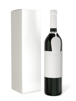 Wijnflesmodel met leeg etiket dat op witte achtergrond wordt geïsoleerd
