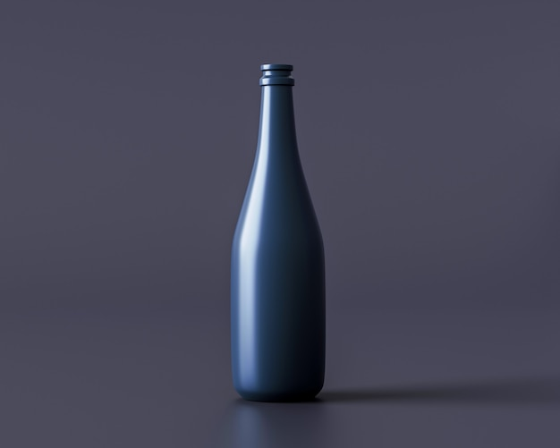 Wijnflespakket op donkere achtergrond 3d-rendering