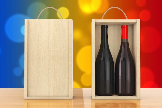 Wijnflessen in blanco houten wijnpak met handvat op een houten tafel. 3d-rendering.