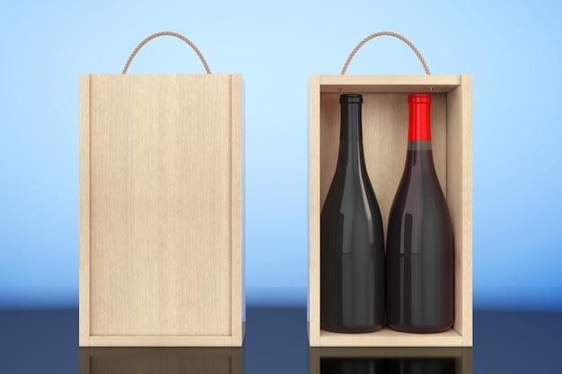 Wijnflessen in blank houten wijnpak met handvat op een witte achtergrond. 3d-rendering.