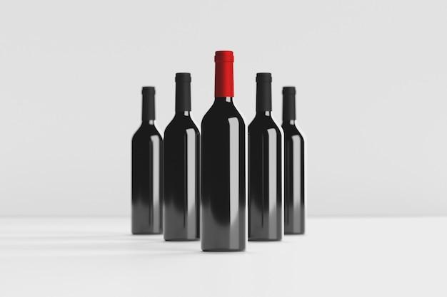 Wijnflessen mockup 3d illustratie