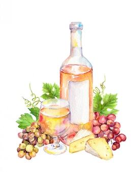 Wijnglas met druivenbladeren, druivenbessen en kaas.