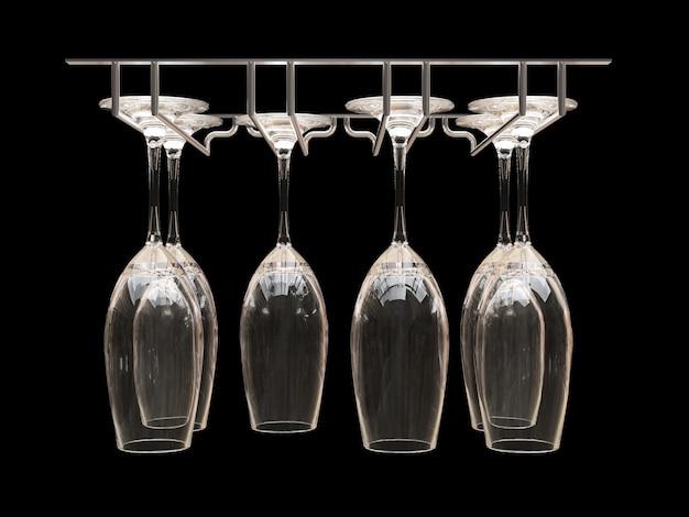 Wijnglazen op het rek illustratie op zwart