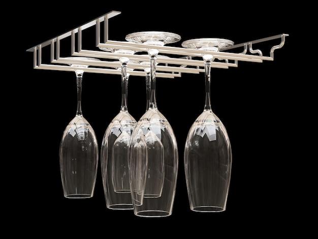 Wijnglazen op het rek. illustratie op zwarte achtergrond. 3d-weergave