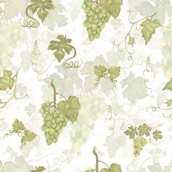 Wijnoogst mooi waterverfhand getrokken naadloos groen en geel patroon