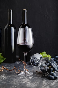 Wijnsamenstelling op zwarte tafel rode wijnflessen druiventrossen met bladeren en wijnstokken donkere stemming