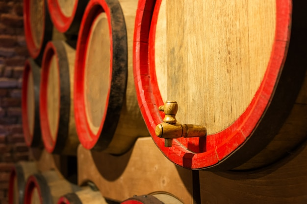 Wijnvaten in de antieke kelder