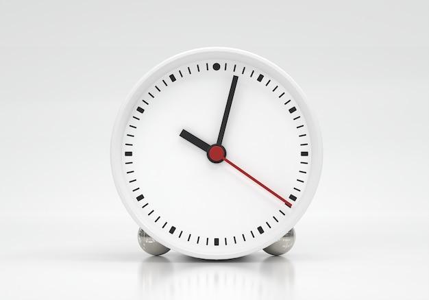 Wijzerplaat met uurminuut en secondewijzers ongeveer 10 uur op witte achtergrond Premium Foto