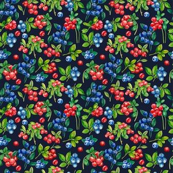 Wild bessen naadloos patroon. lingonberry, blauwe bosbes