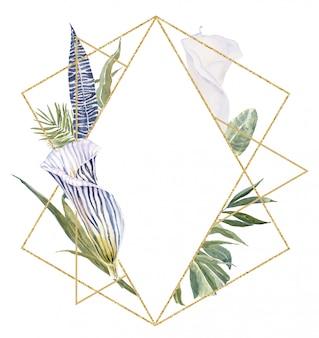 Wild flowers dierenvel print, tropische bladeren frame. gestreepte bloemenprint border