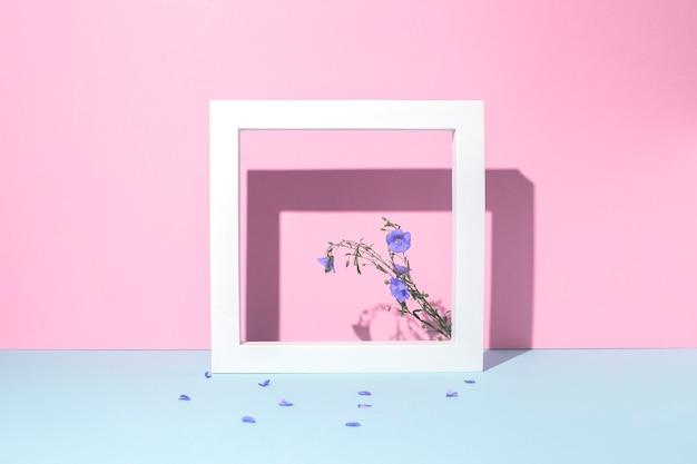Wildblauwe bloemen in een vierkant wit frame, een presentatiepodium op een roze-blauwe achtergrond.