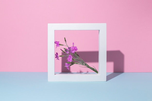 Wilde bloemen in een vierkant wit kader, een presentatiepodium op een roze-blauwe achtergrond.
