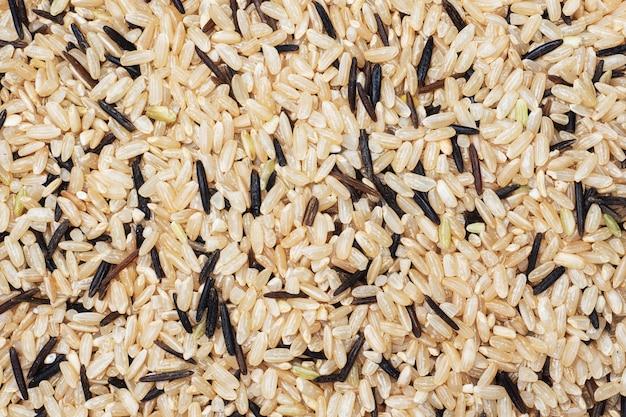 Wilde rauwe rijst close-up. textuur ruwe grutten. achtergrond van voedsel koolhydraten.