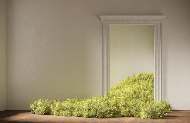 Wilde velden bloemen vallen in de kamer, abstract interieurconcept met kopie ruimte. 3d-afbeelding