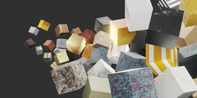 Willekeurig patroon textuur kubus 3d illustratie achtergrond