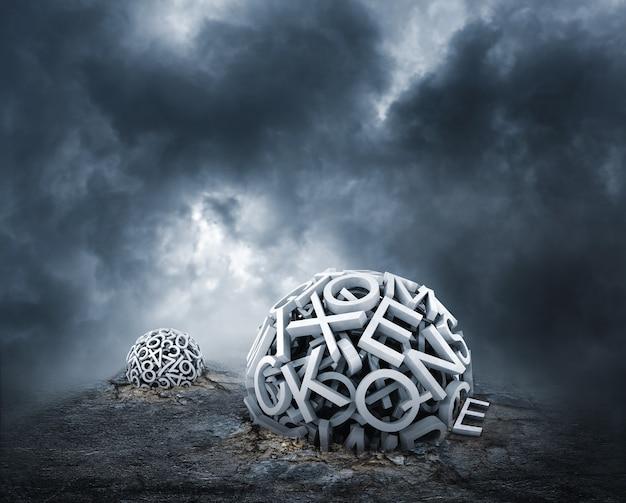 Willekeurige letters die een bol op de grond vormen