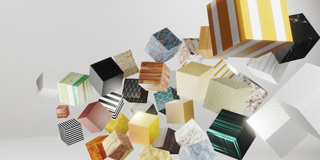 Willekeurige patroon textuur kubus 3d illustratie achtergrond