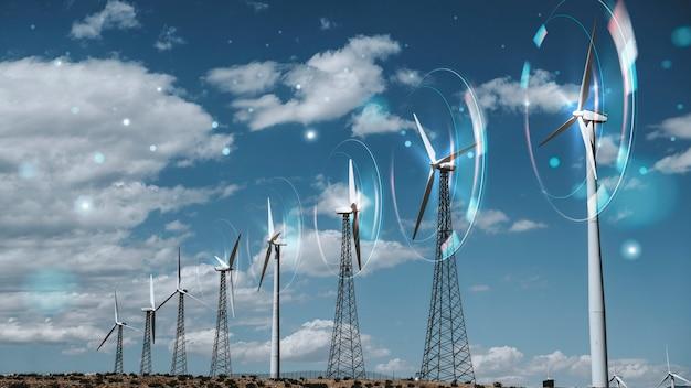 Windenergie met windturbines achtergrond