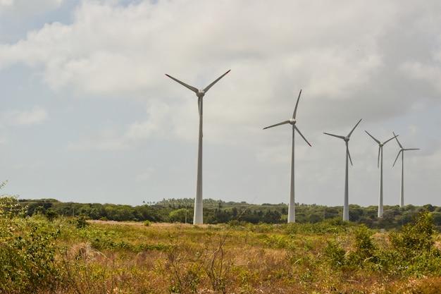 Windgebied met windturbines, producerend windenergie onder blauwe hemel, hernieuwbare energie. - afbeelding