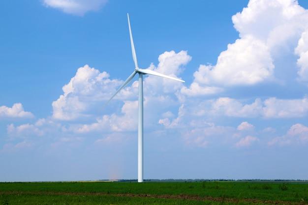 Windmolen in veld op blauwe hemel