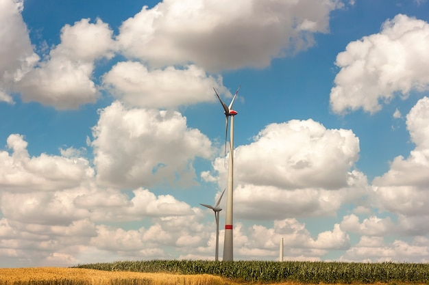 Windmolens op het veld. de turbines die van windgeneratoren het landschap van de elektriciteitszomer produceren. groene hernieuwbare energie.