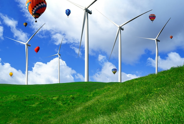 Windturbine boerderij in prachtige natuur landschap.