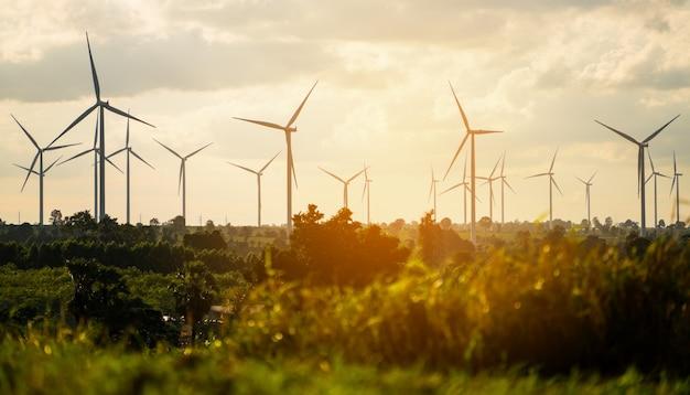 Windturbine boerderij op heuvel