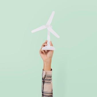 Windturbine hand hernieuwbare energie milieu
