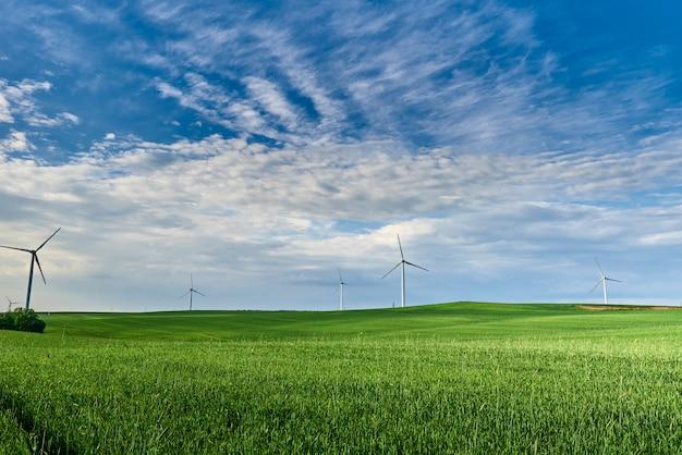 Windturbine in het veld. windenergie energieconcept. hernieuwbare energie voor klimaatbescherming