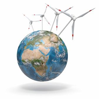 Windturbine op aarde. 3d