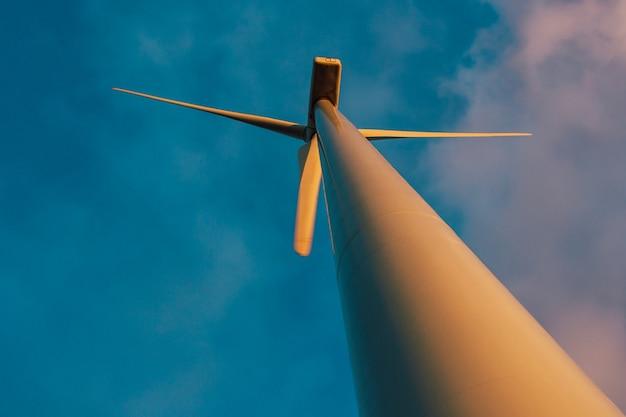 Windturbine vanuit een laag standpunt gezien, die op een vlakke weide tegen een blauwe lucht staan.