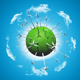 Windturbines op een met gras begroeide wereld