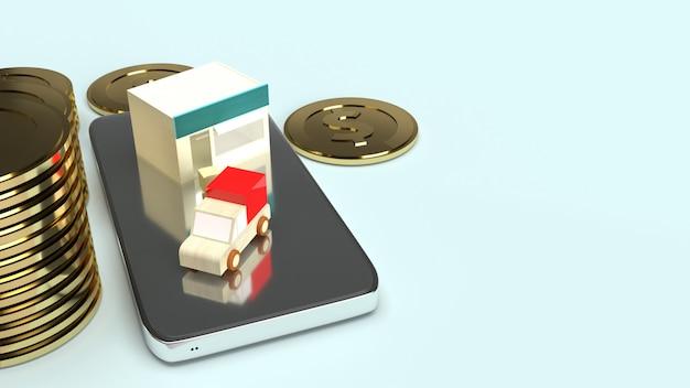 Winkel- en bestelwagentransport op mobiele telefoon en gouden munten 3d-rendering voor zakelijke inhoud.