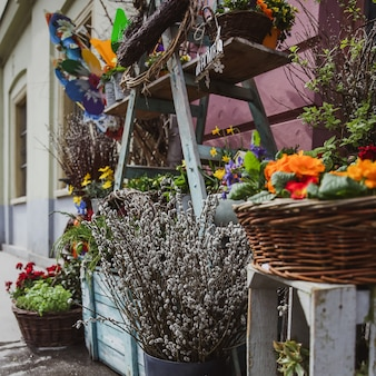 Winkel verkopen bloem op de markt in boedapest
